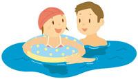 海水浴をする親子 イラスト