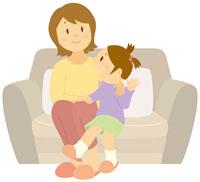 ソファーに座る親子 イラスト