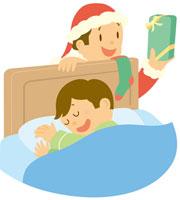 プレゼントを寝ている子供に渡すサンタクロース イラスト