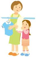 洗濯をする親子 イラスト