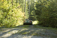山道を走る車