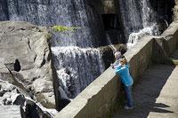 滝を眺める父と娘