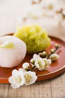 立春イメージ 梅花と和菓子