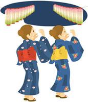 盆踊りをする女性2人 8月 11002052104| 写真素材・ストックフォト・画像・イラスト素材|アマナイメージズ