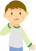 鼻水を垂らす男の子
