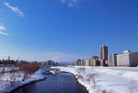 雪景色の豊平川