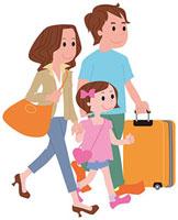 旅行に出発する家族