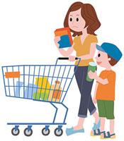 買物をする親子