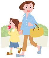買物を楽しむ親子