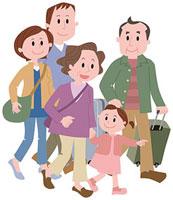 旅行に出発する三世代家族