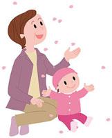花見を楽しむ祖母と孫