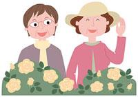 バラ園を鑑賞する二人の中高年女性