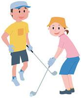 ゴルフをする中高年夫婦