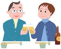 ビールで乾杯する中高年夫婦 11002054931| 写真素材・ストックフォト・画像・イラスト素材|アマナイメージズ