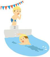 水泳大会 11002055068| 写真素材・ストックフォト・画像・イラスト素材|アマナイメージズ