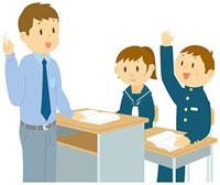 手を上げる中学生