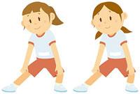 体操をする女子中学生