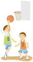 バスケットボールをする男子中学生