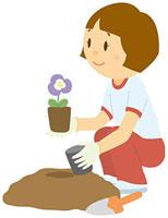 花を植える女子中学生 11002055114| 写真素材・ストックフォト・画像・イラスト素材|アマナイメージズ