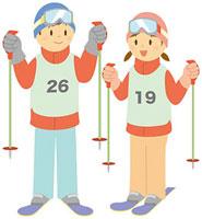 スキーをする中学生