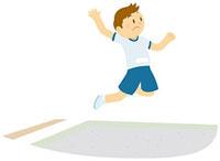 走り幅跳びをする男子中学生
