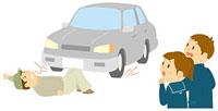 交通安全教室で事故の再現を見る中学生