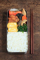 お弁当(ご飯 ホウレンソウ 卵焼き 鶏の唐揚げ 鮭 筑前煮) 11002055800| 写真素材・ストックフォト・画像・イラスト素材|アマナイメージズ