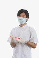 歯の模型と歯ブラシを持つ歯科医師 11002056651| 写真素材・ストックフォト・画像・イラスト素材|アマナイメージズ