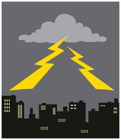 都市の上の雷雲と雷