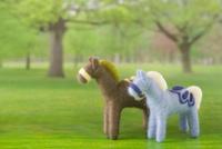 フェルトの二頭の馬と牧場の背景の合成 11002064966| 写真素材・ストックフォト・画像・イラスト素材|アマナイメージズ
