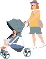 ベビーカーを押す妊婦ママ