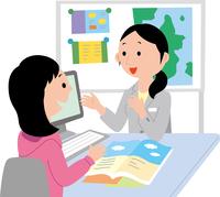 留学のカウンセリングを受ける若い女性