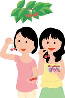さくらんぼ狩りを楽しむ若い女性2人 11002067772  写真素材・ストックフォト・画像・イラスト素材 アマナイメージズ