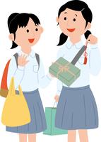 修学旅行でお土産を買う女子学生2人 11002067791| 写真素材・ストックフォト・画像・イラスト素材|アマナイメージズ