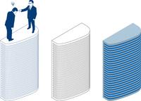 超高層ビルと説教中のビジネスマン2人