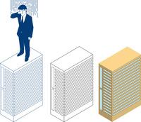 高層ビルと屋上で泣くビジネスマン