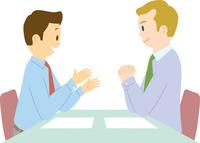 欧米系男性と日本人男性のミーティング