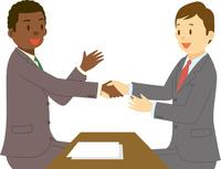 アフリカ系男性と日本人男性のミーティング