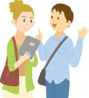 タブレットで観光情報を確認する欧米系女性 11002068762| 写真素材・ストックフォト・画像・イラスト素材|アマナイメージズ