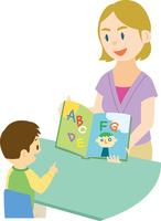欧米系女性に英語を習う日本人の子供