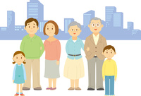 並んで立つ三世代家族 11002068924  写真素材・ストックフォト・画像・イラスト素材 アマナイメージズ