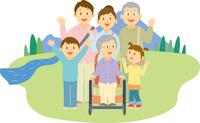 車椅子の祖母と三世代家族の旅行 11002068938  写真素材・ストックフォト・画像・イラスト素材 アマナイメージズ