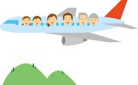 飛行機に乗る三世代家族 11002068967  写真素材・ストックフォト・画像・イラスト素材 アマナイメージズ