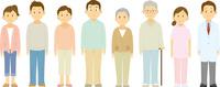 並んで立つ三世代家族と医師と看護師