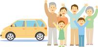 マイカーの前に立つ三世代家族 11002068995  写真素材・ストックフォト・画像・イラスト素材 アマナイメージズ