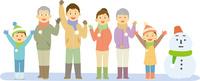 雪で遊ぶ三世代家族 11002068996  写真素材・ストックフォト・画像・イラスト素材 アマナイメージズ