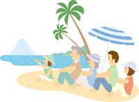 ビーチで寛ぐ三世代家族 11002068997  写真素材・ストックフォト・画像・イラスト素材 アマナイメージズ