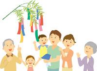 七夕を祝う三世代家族