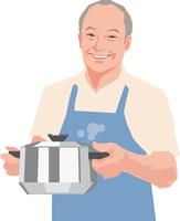 鍋を持つアクティブシニアの男性