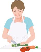 料理をするアクティブシニアの女性